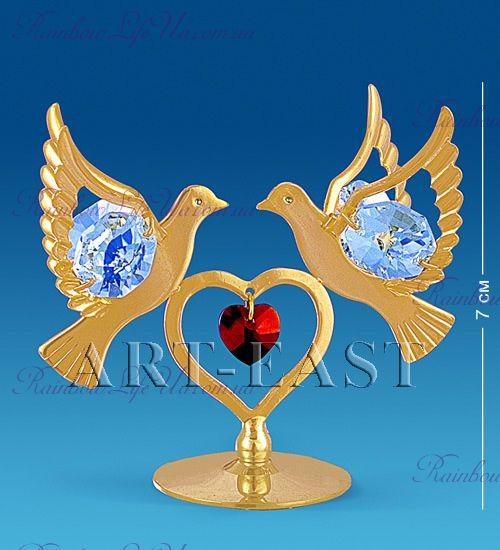 "Фигурка голуби с сердцем с камнями ""Swarovski"""