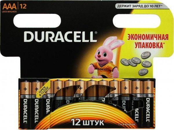 Блистер с элементами питания AAA DURACELL LR03 BL12 (набор из 12 батареек)