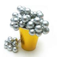 Ягоды искусственные, серебро, 6 скруток по 8 шт, 1 см