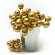Ягоды искусственные, золото, 6 скруток по 8 шт, 1 см