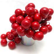 Ягоды искусственные, красный, 6 скруток по 8 шт, 1 см