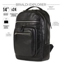 Стильный деловой рюкзак BRIALDI Explorer (Эксплорер) relief black