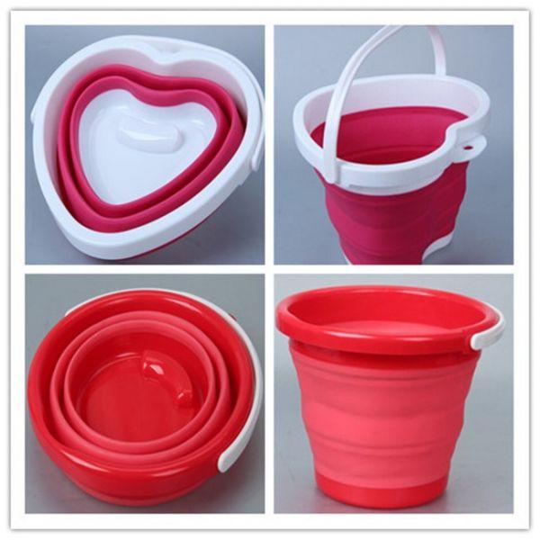 Ведро складное силиконовое Folding Bucket, Красное круглое
