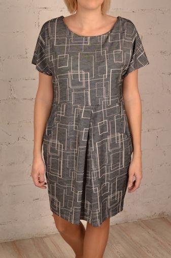Трикотажное платье серого цвета с коротким рукавом