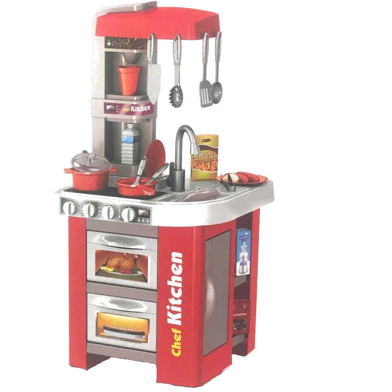 922-48A Детская игровая кухня с водой 49 аксессуаров, высота 72 см. красная Chef Kitchen