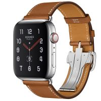 Apple Watch Hermes Series 5 44mm Stainless Steel GPS + Cellular Fauve Leather Single Tour Deployment Buckle