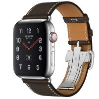 Apple Watch Hermes Series 5 44mm Stainless Steel GPS + Cellular Ebene Leather Single Tour Deployment Buckle