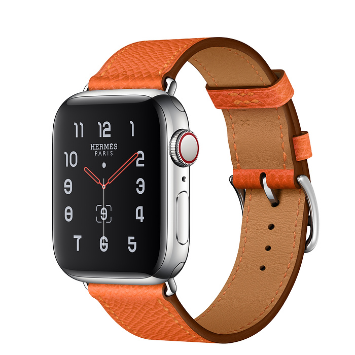 Apple Watch Hermes Series 5 40mm Stainless Steel GPS + Cellular Feu Leather Single Tour
