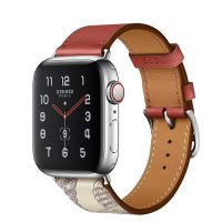 Apple Watch Hermes Series 5 40mm Stainless Steel GPS + Cellular Brique/Beton with Leather Single Tour