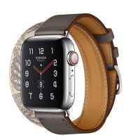 Apple Watch Hermes Series 5 40mm Stainless Steel GPS + Cellular Etain/Beton with Leather Double Tour