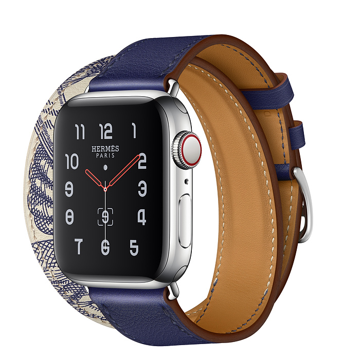 Apple Watch Hermes Series 5 40mm Stainless Steel GPS + Cellular Encre/Beton with Leather Double Tour