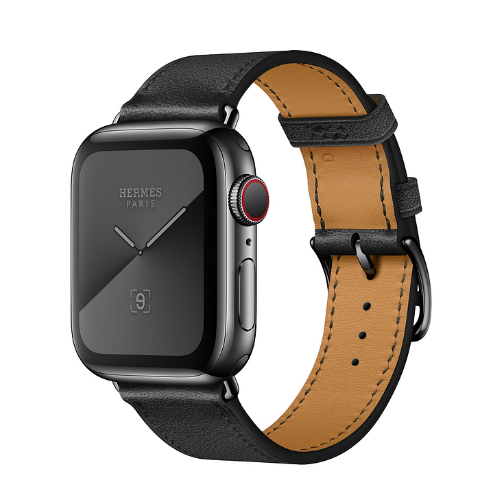 Apple Watch Hermes Series 5 40mm Stainless Steel GPS + Cellular Space Black with Leather Single Tour