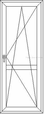 Балконная дверь глухая сэндвич/сэндвич с горизонтальной перемычкой посередине