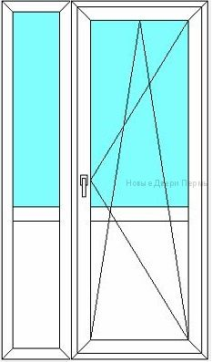 Балконная дверь с полкой 1200 мм стеклянная с сэндвич панелями