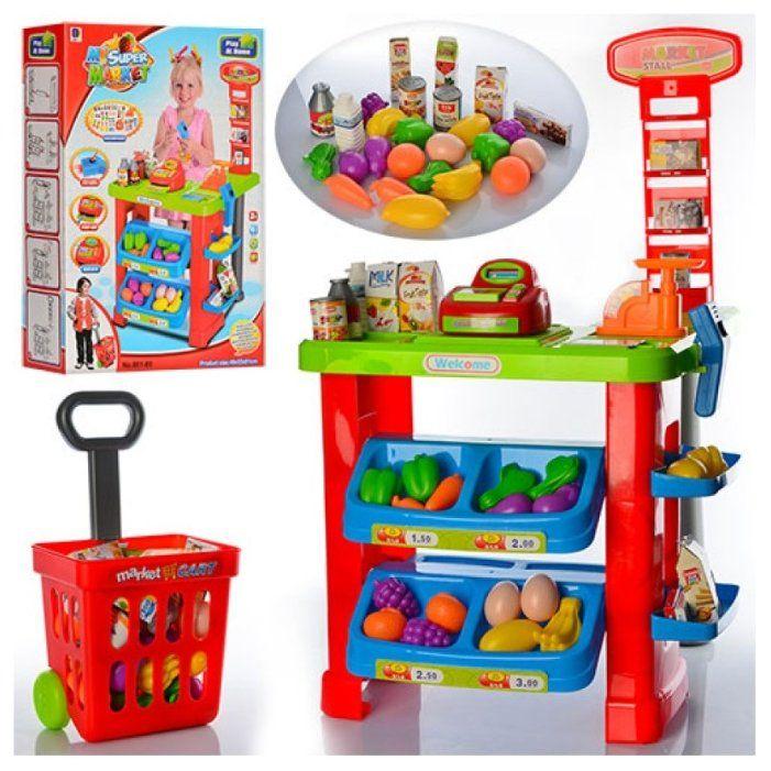 661-80 Детский игровой магазин супермаркет со сканером, кассой, продуктами и корзинкой для покупок.