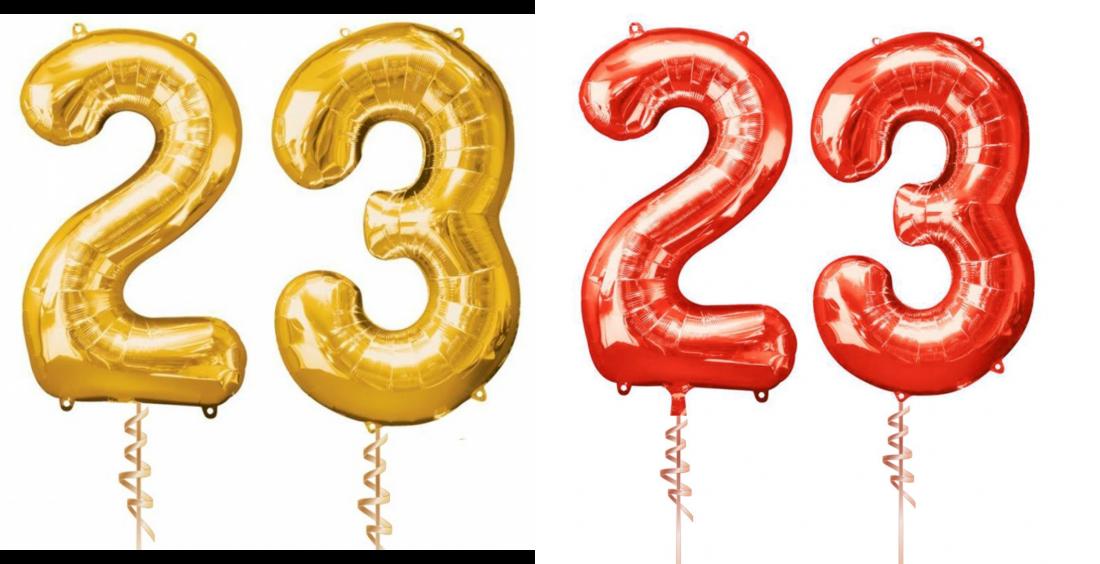 Цифры 23 с гелием (летают, на грузах)