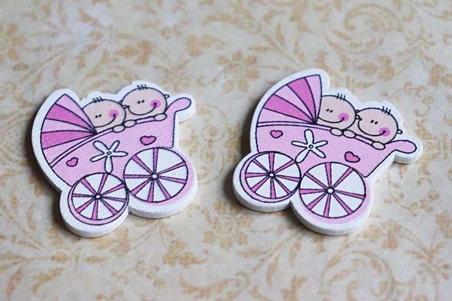 Деревянный стикер, Розовая Коляска с двумя детьми, 3*3 см