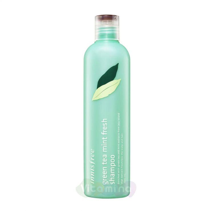Innisfree Бессиликоновый шампунь с экстрактом мяты для глубокой очистки волос и кожи головы Green Tea Mint Fresh Shampoo, 300 мл