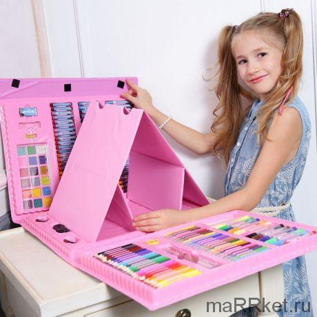 Набор для рисования со складным мольбертом в чемоданчике Super Mega Art Set, 208 предметов (розовый)