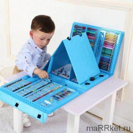 Набор для рисования со складным мольбертом в чемоданчике Super Mega Art Set, 208 предметов (голубой)