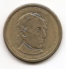 Джон Тайлер (1841-1845)10 президент США 1 доллар США  2009  Монетный двор Р