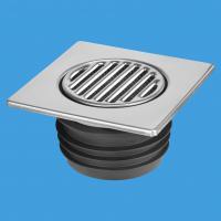 Насадка (150ммх150мм) сливная металлическая (полированная нержавейка) с обратным клапаном и функцией «сухой гидрозатвор» (подпружиненная мембрана), фильтрующей сеткой, прокладкой; выход вертикальный Дн=90/110мм; цвет-хром