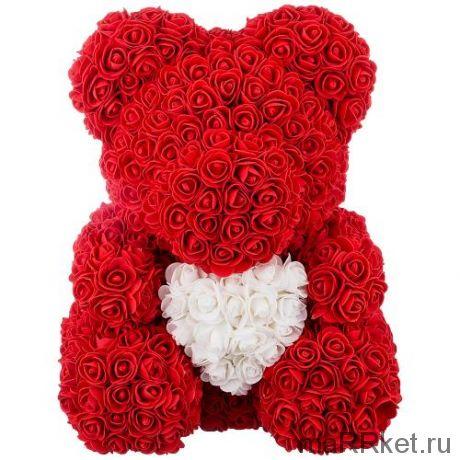 Мишка из роз с сердцем в подарочной коробке, 40 см (красный)