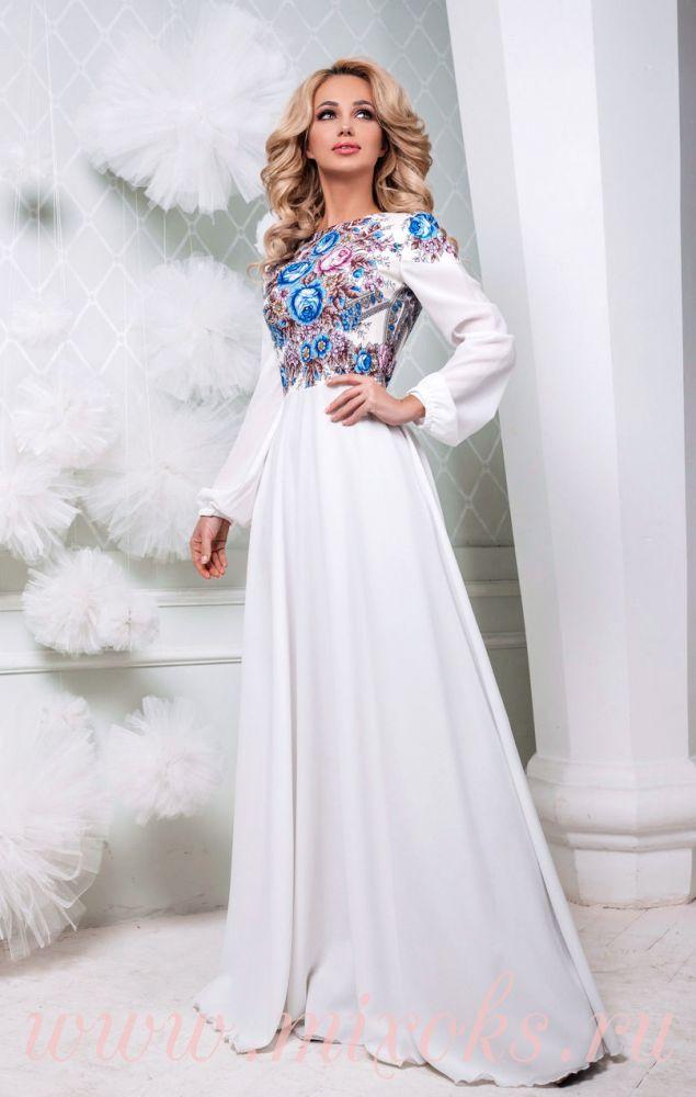 Платье белое в пол русском стиле