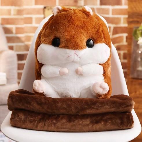 Подушка-игрушка с пледом Хомяк 3 в 1, цвет коричневый