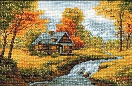 Набор для вышивания крестом Осенний пейзаж №1079 фирма Риолис