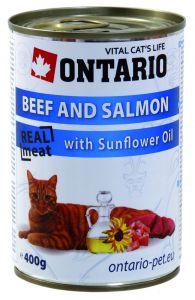 Ontario Консервы для кошек: говядина и лосось 400 гр.