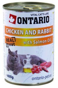 Ontario Консервы для кошек: курица и кролик 400 гр.