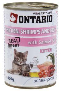 Ontario Консервы для котят: курица, креветки и рис 400 гр.