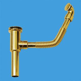"""Слив-перелив (L280ммхD25мм, 60мм сливная решетка и пробка тип-""""кнопка"""") латунный под круглое отверстие перелива; высота 220мм; выход Дн=32мм; цвет-золото"""