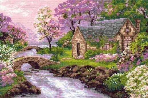 Набор для вышивания крестом Весенний пейзаж №1098 фирма Риолис