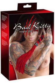 Плеть замшевая Bad Kitty Flogger черно-красная, 38 см