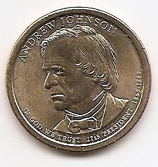 Эндрю Джонсон (1865-1869)17 президент США 1 доллар США  2011  Монетный двор Р