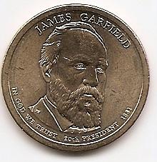 Джеймс Гарфилд (1881) 20 президент США 1 доллар США  2011  Монетный двор Р