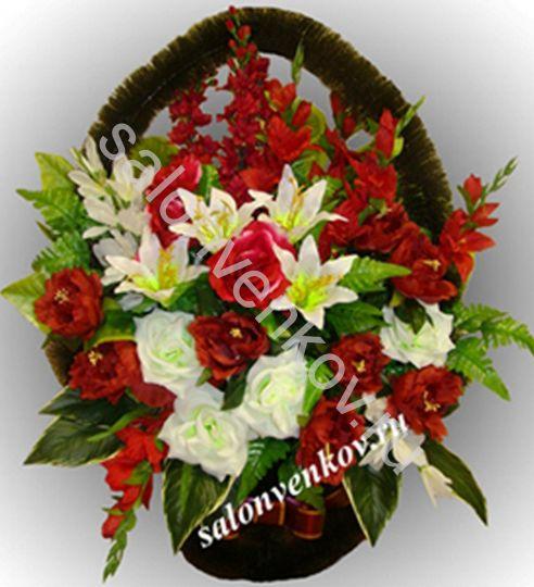 Ритуальная корзина из искусственных цветов N27, РАЗМЕР 60см, 80см,90 см