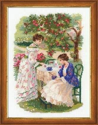 Набор для вышивания крестом Русская усадьба. Чай под яблоней №1140 фирма Риолис