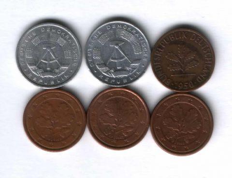 Набор монет Германия 1950-2002 г. 6 шт.