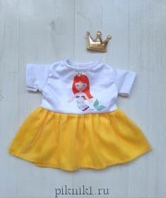 Платье с желтой юбкой и заколка