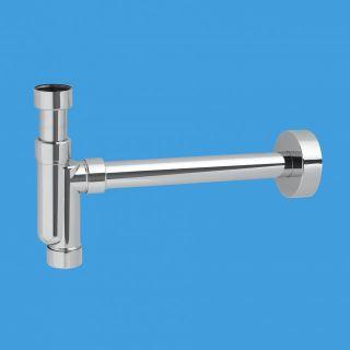 """—ифон трубный P-образный (1 1/4""""х32мм) без выпуска с отводной трубой D32мм и отражателем; выход компрессионный ƒу=32мм; материал комбинированный - латунь/пластик; †цвет-хром"""