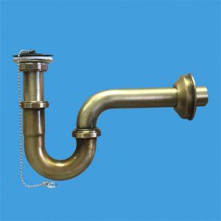 """—ифон трубный P-образный (1 1/4""""х32мм) металлический с выпуском (60мм нержавеюща¤ решетка), пробкой, цепочкой, отводной трубой D32мм и отражателем; выход ƒн=32мм; цвет-антична¤ бронза"""