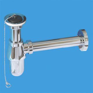"""—ифон бутылочный (1 1/4""""х32мм) металлический с высокой колбой, выпуском (60мм нержавеюща¤ решетка), пробкой, цепочкой, отводной трубой D32мм и отражателем; выход компрессионный ƒу=32мм; цвет-хром"""