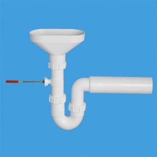 """сифон трубный Р-образный (1 1/2""""х40мм) для разрыва потока/струи с овальной (170ммх85мм) приемной воронкой и горизонтальной отводной трубой D40/50мм; в комплекте крепеж к стене"""