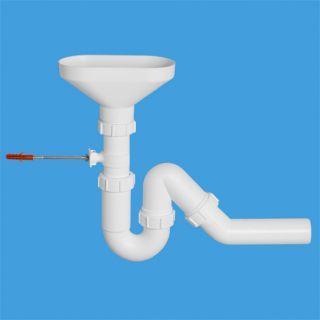 """сифон трубный Р/S-образный (1 1/2""""х40мм) для разрыва потока/струи с овальной (170ммх85мм) приемной воронкой и универсальной отводной трубой D40мм; в комплекте крепеж к стене"""