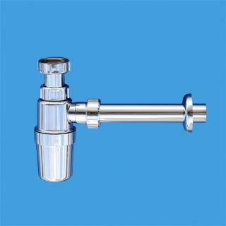 сифон бутылочный (1 1/4'x32мм) без выпуска, с металлическими отводной трубой D32мм и отражателем; выход компрессионный Ду=32мм; цвет-хром