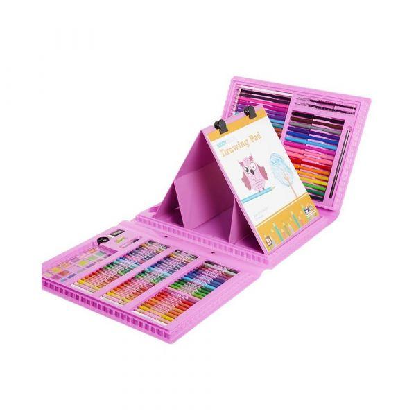 Набор для рисования со складным мольбертом в чемоданчике, 176 предметов Розовый