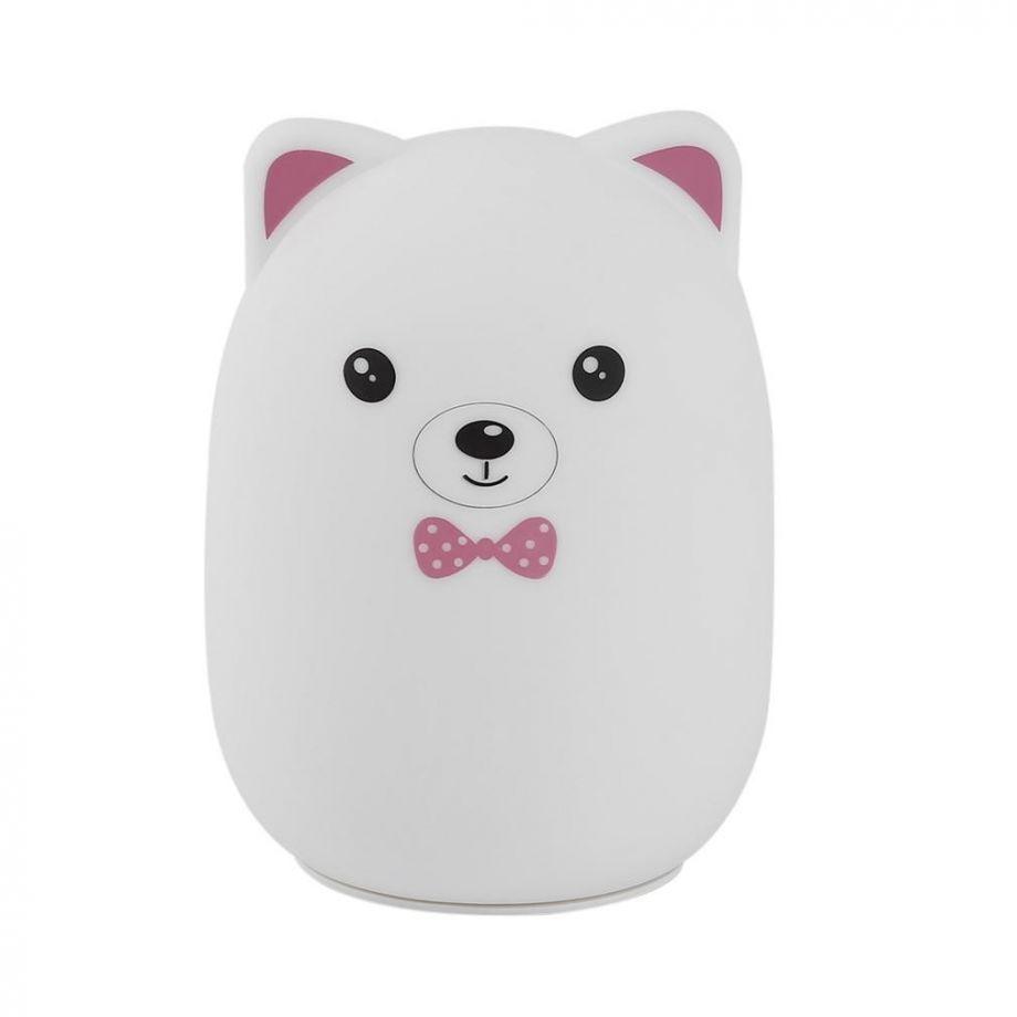 Мягкий силиконовый ночник Colorful Silicone Lamp,Розовый Мишка с бабочкой